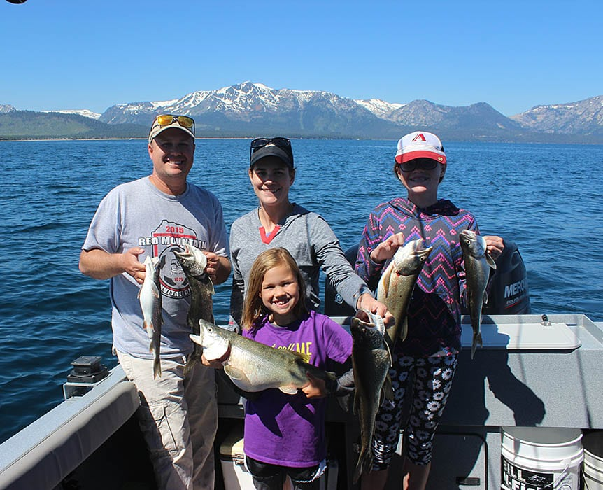 Family out fishing