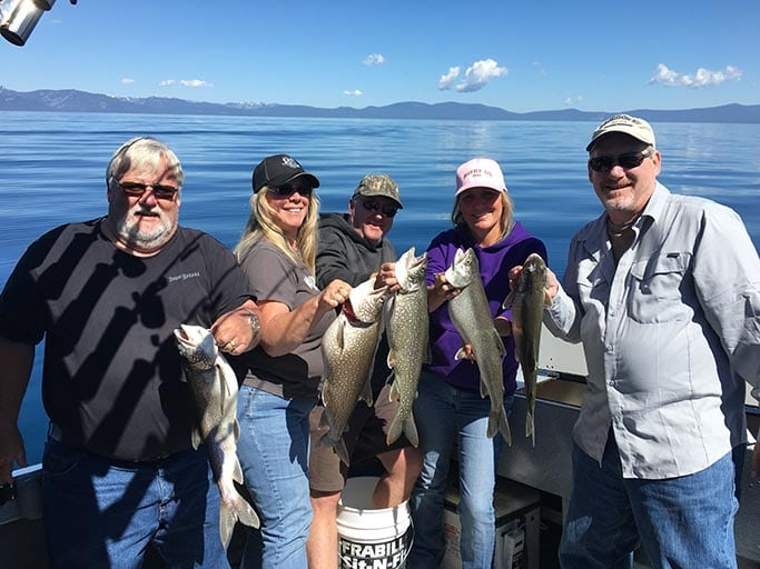 Group Fishing a Private Charter in Lake Tahoe